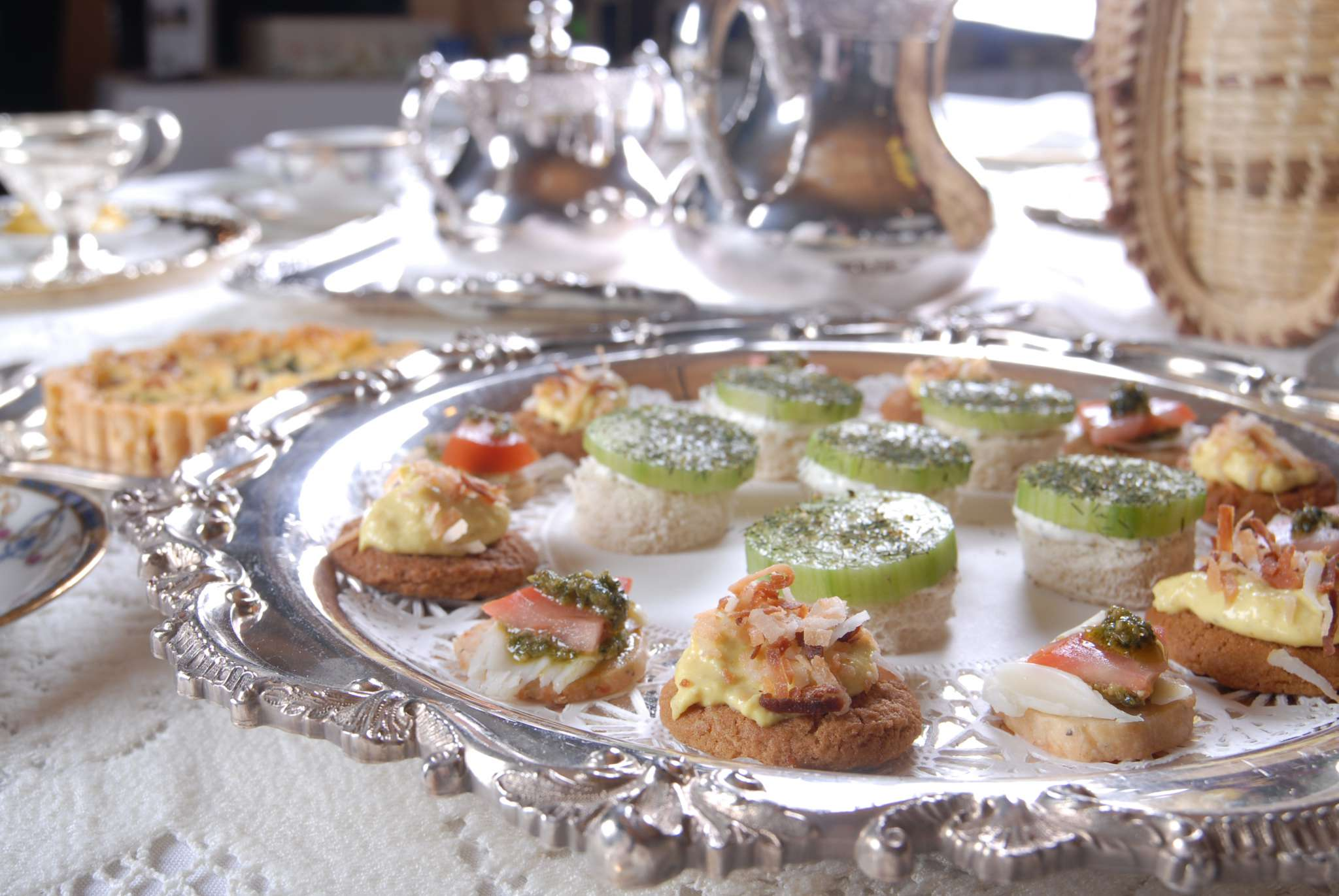A plate of food on a table, with Cottage Tea Room and Mother\'s Day