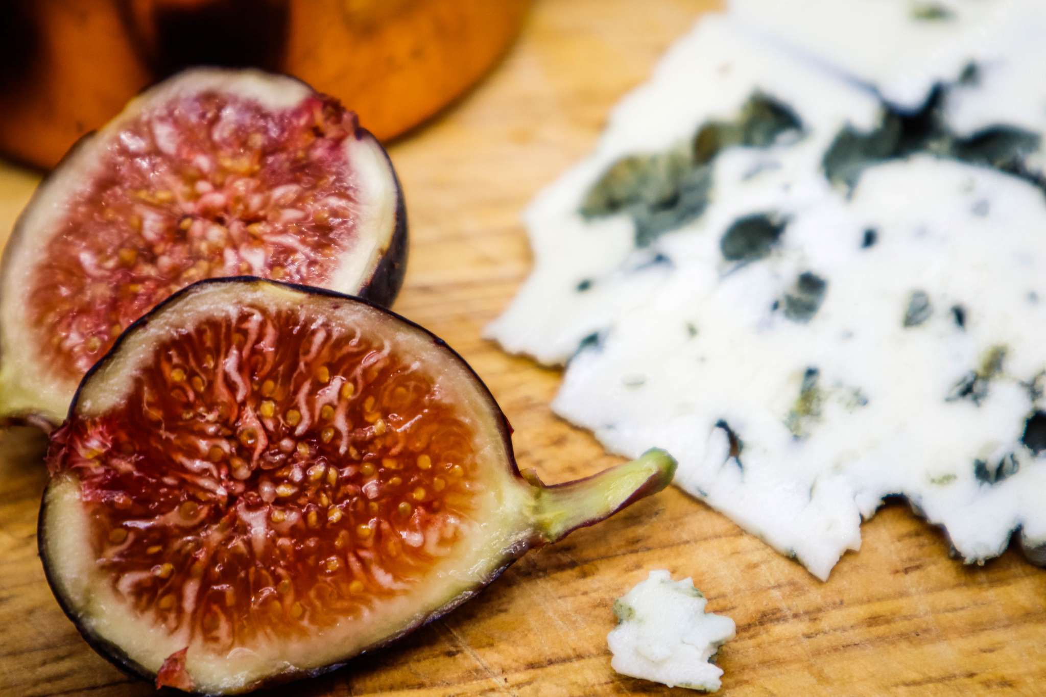 seasonal treat roasted figs with roquefort and honey picture of fresh figs and Roquefort cheese from France Societe