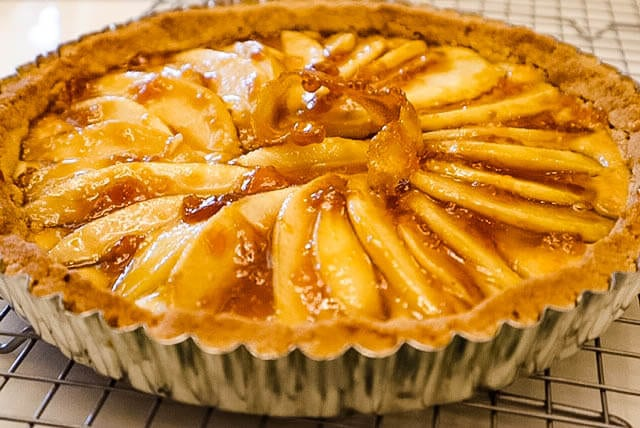 A Pear Tart With Shortbread Crust Solo almond paste Heilala Vanilla pear desserts fall desserts Roquefort France Societe cheese CHEFMADE Cuisinart Walkers Shortbread of Scotland Pears and pear desserts Frangipane Anjou and Bosc pears