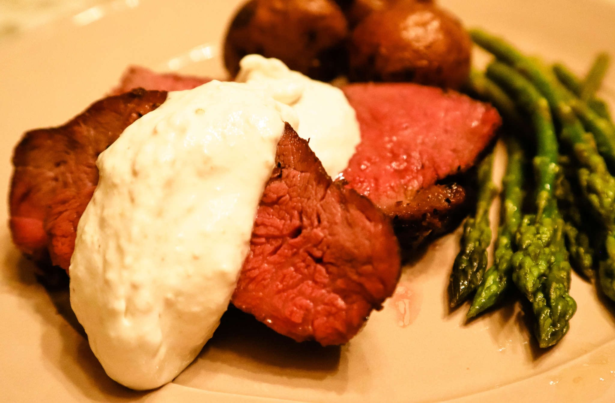 A plate of food, with Beef