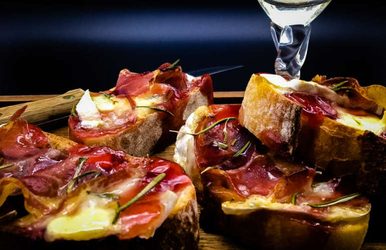 Crostini with Brie, Coppa and Raspberry