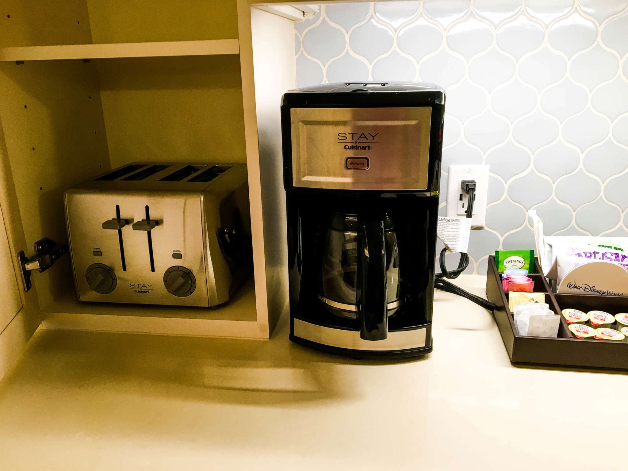 A coffee pot and a toaster