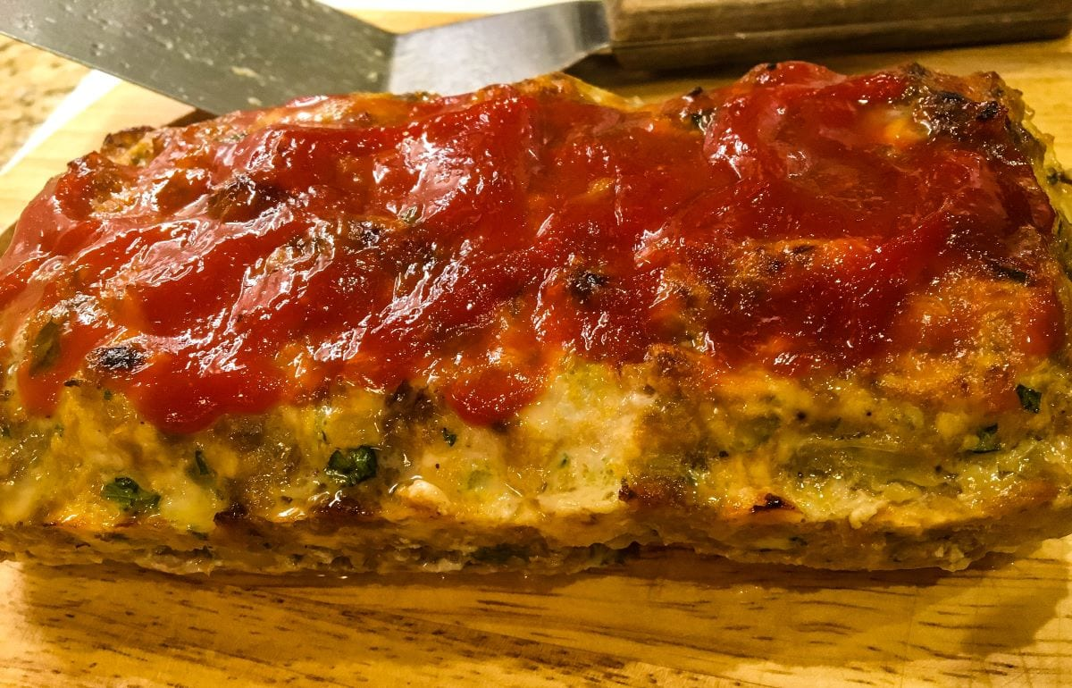 A close up of a slice of meat loaf