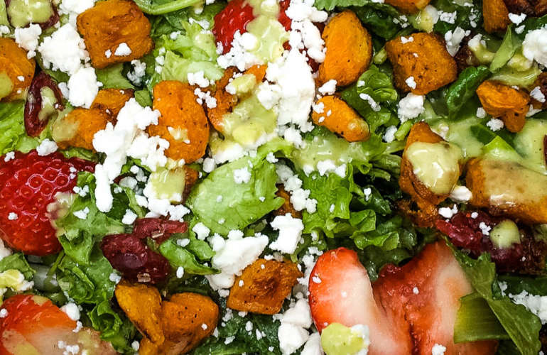 Easy Kale Salad with Roasted Butternut & Strawberries