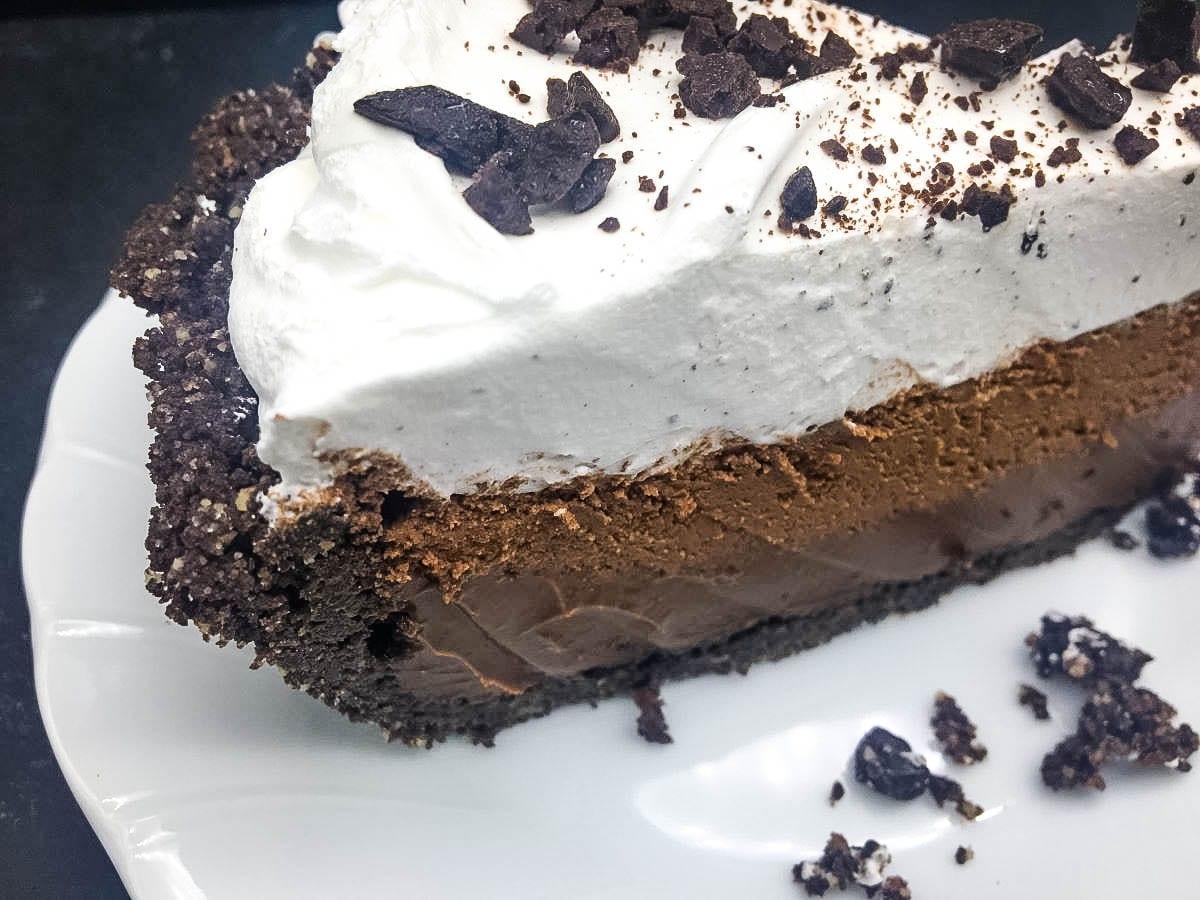 close up of slice of chocolate pie