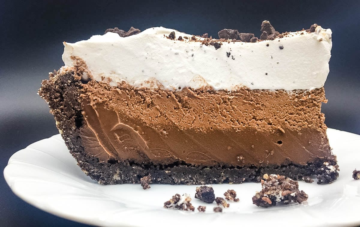 big slice of chocolate pie