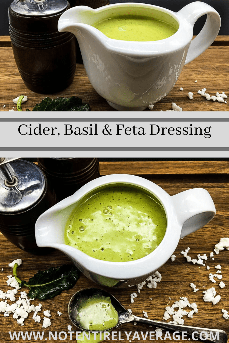 Pinterest pin of Cider, Basil and Feta Dressing