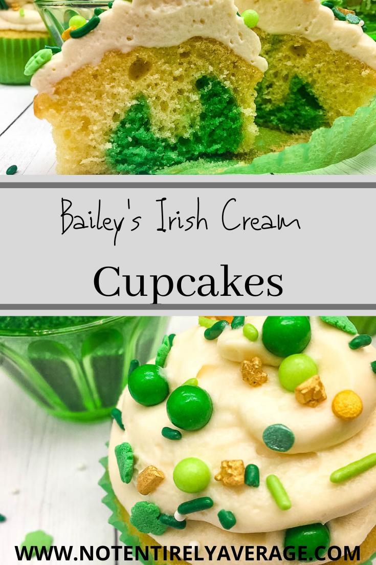 Pinterest pin of Baileys Irish Cream cupcakes