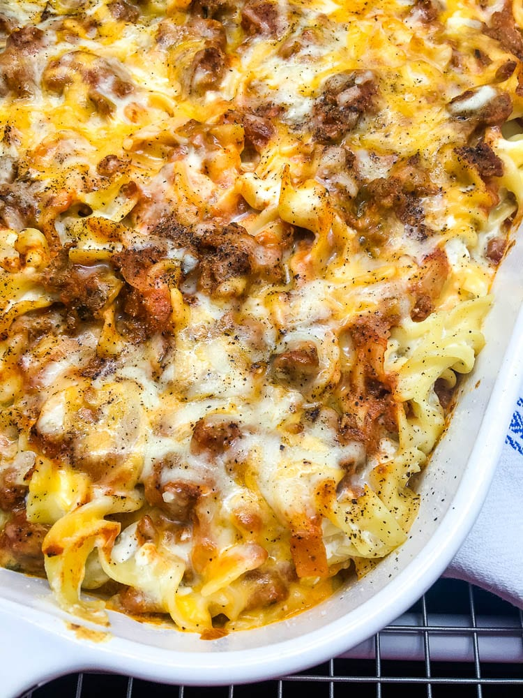 sour cream noodle bake close up