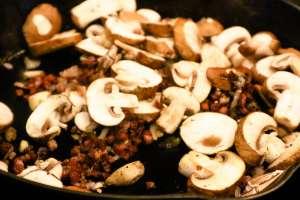 a close up of cut mushrooms