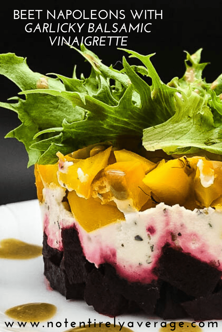 A salad of beets and cheese on a plate