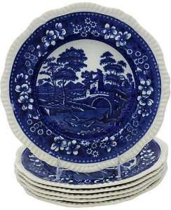 blue and white bowls for soup