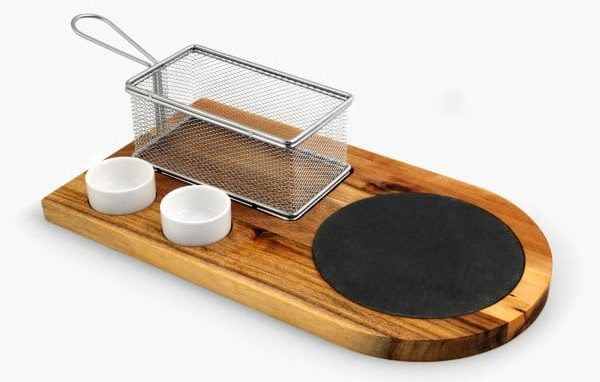 hamburger board with French fry basket