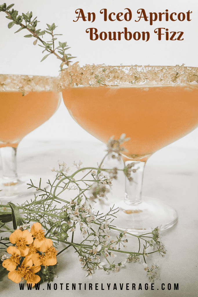 A glass, with Apricot and Fizz