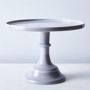 Moser glass gray cake stand
