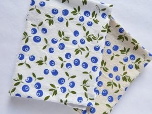 blueberry motif linen towels