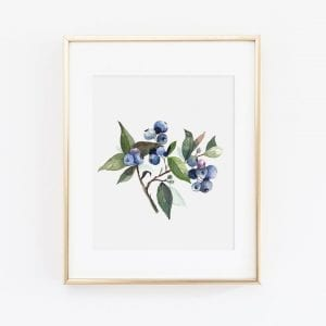 large framed blueberry print