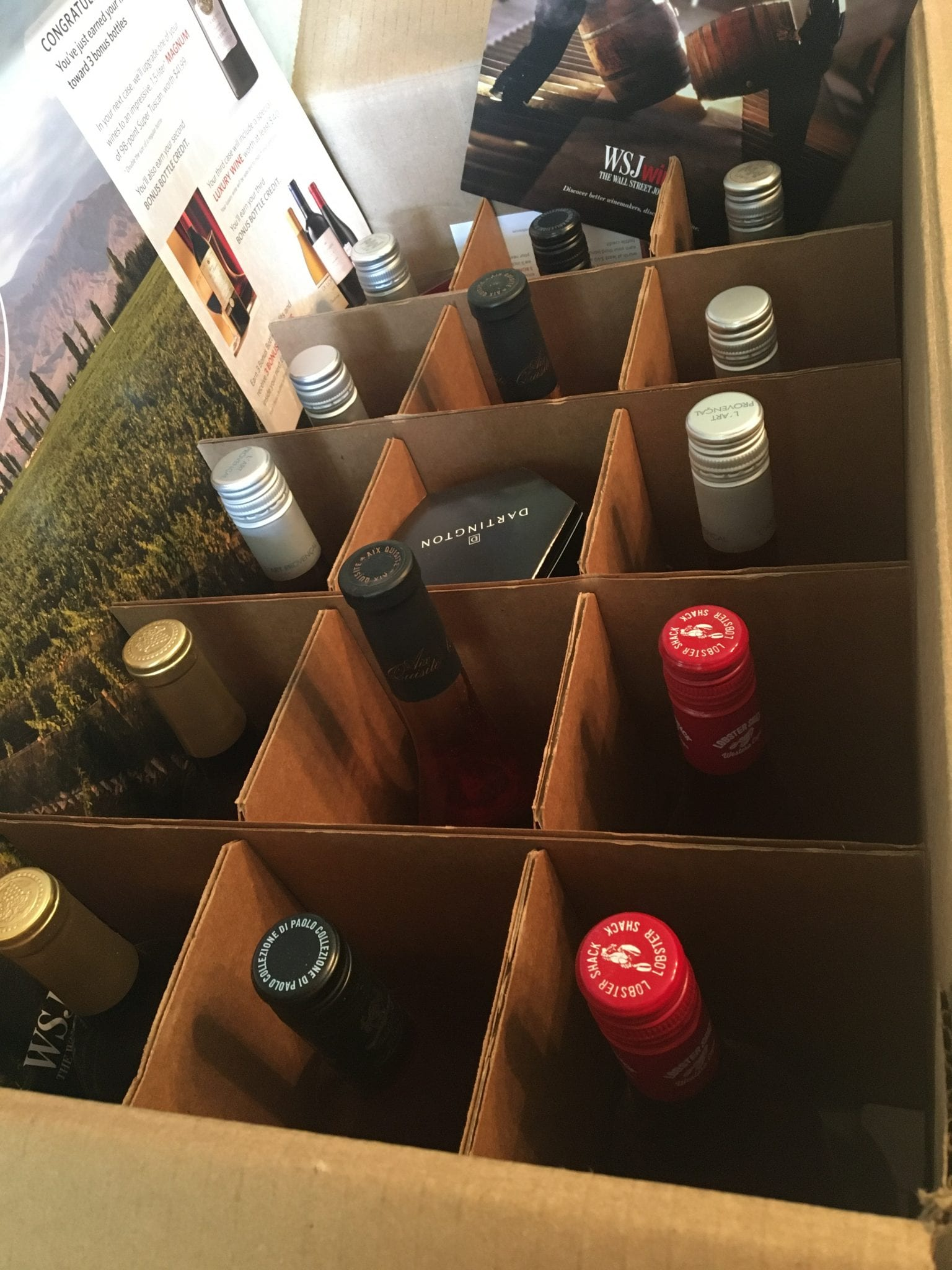 A box filled with bottles of wine