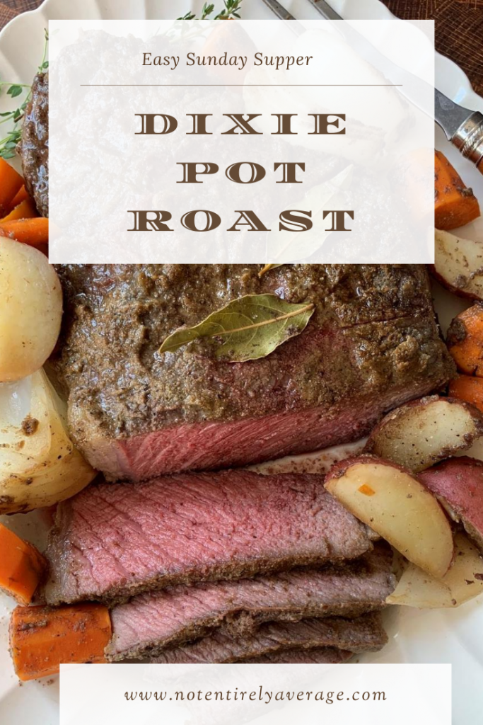 A plate of food and a sign, with Pot roast and Beef