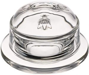 butter dish with bee design