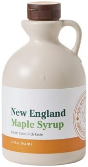 A close up of a bottle of syrup