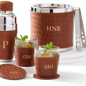 leather cocktail shaker set