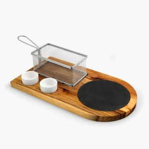 burger board with fry basket