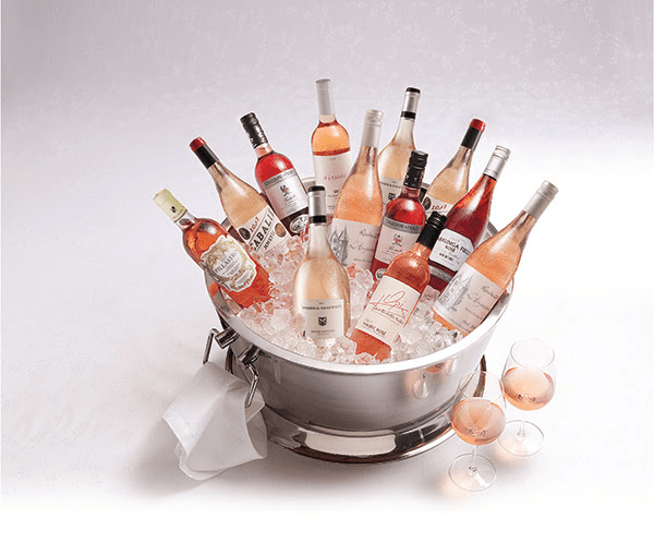 bucket of rose wines