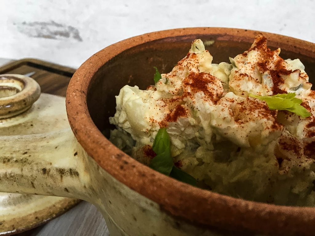 crock of potato salad