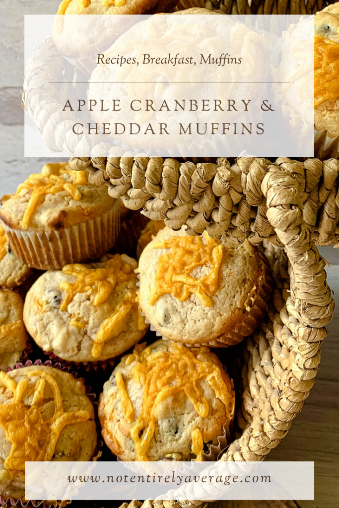 Pinterest pin image of apple cranberry & cheddar muffins