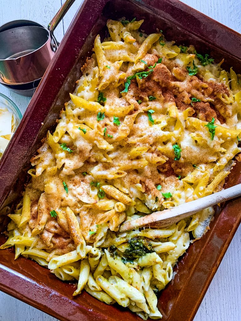 close up of creamy chicken alfredo and penne pasta