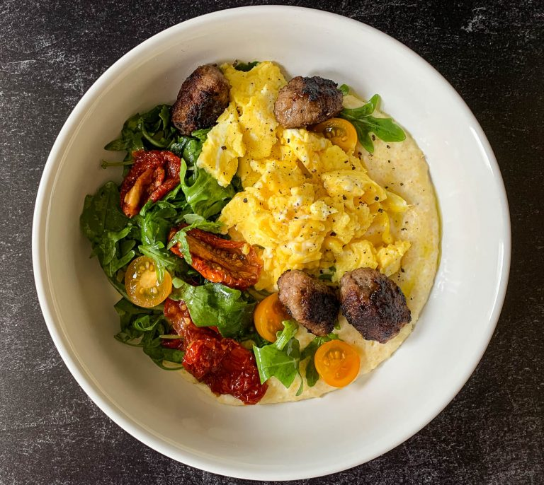 bowl of breakfast polenta and eggs