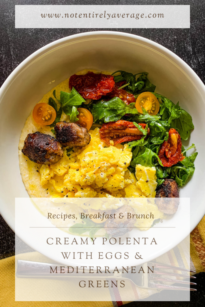 Pinterest pin image for breakfast polenta bowl with eggs and Mediterranean greens