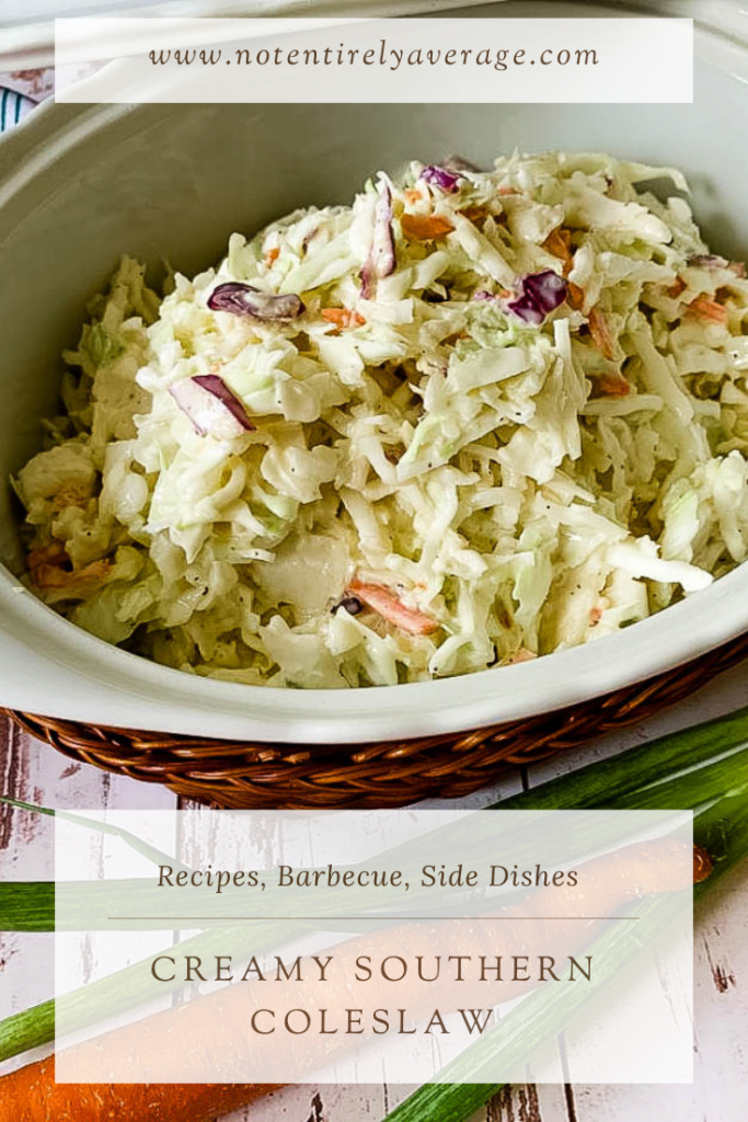 Pinterest pin image for Creamy Southern Coleslaw