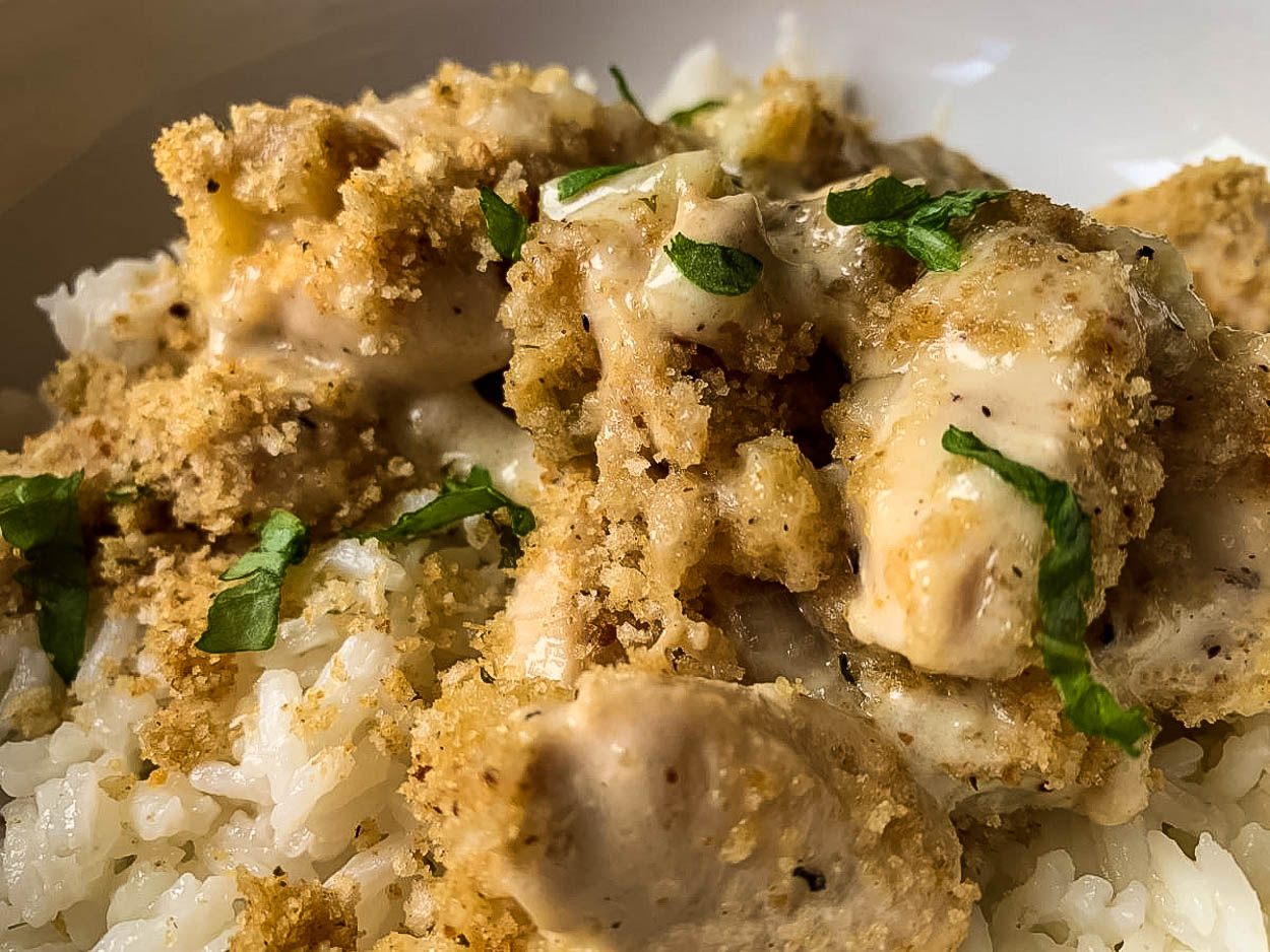 close up pic of Shaker Chicken Pudding