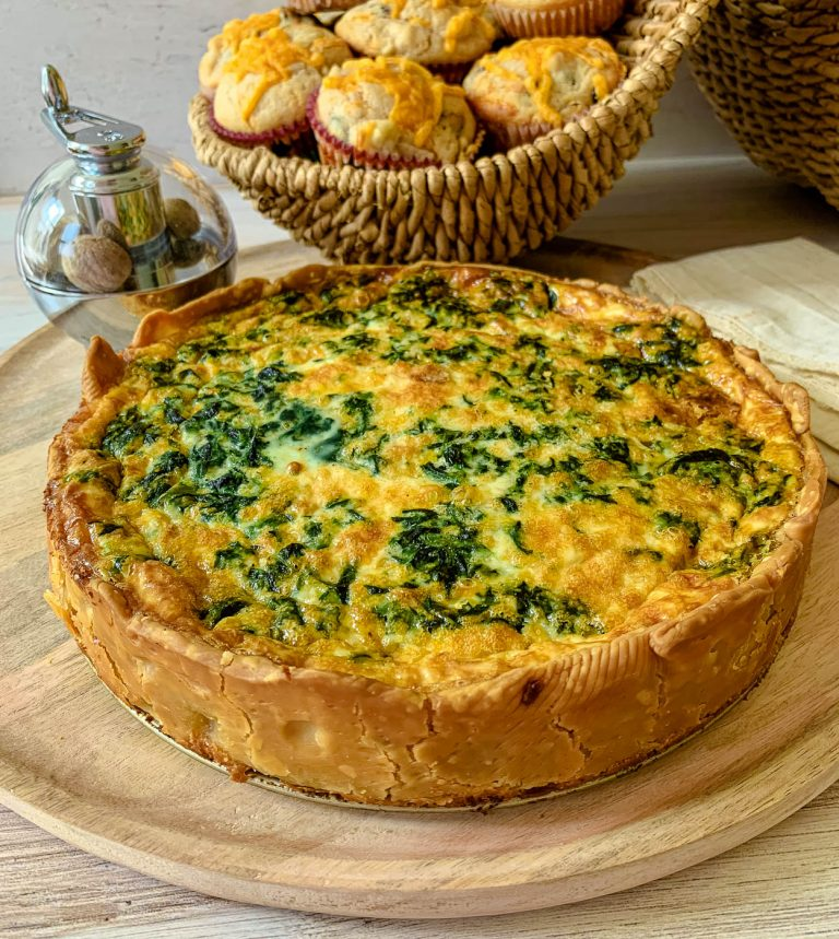 a spinach bacon and blue cheese quiche