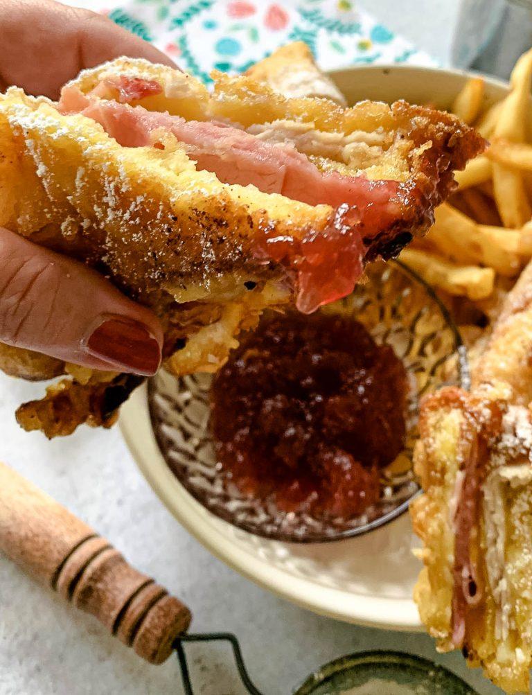 monte cristo sandwich dipped in raspberry jam