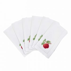 napkins with embroidered apples