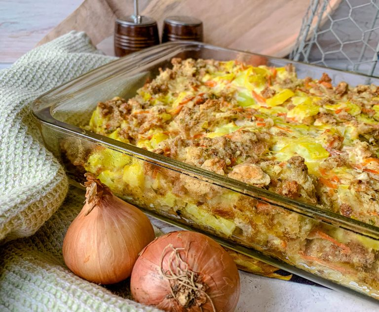 close up of easy squash casserole