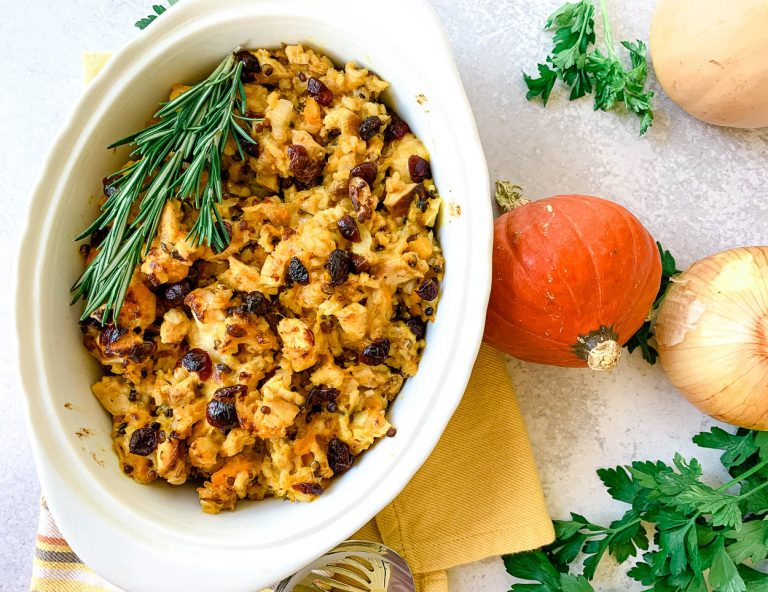 wild rice & butternut casserole with cranberries and pecans