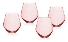 pink stemless glasses for wine