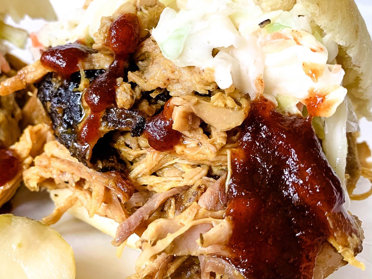 close up of Carolina Smoked pork sandwich