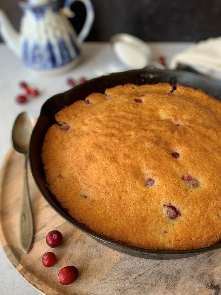 Pinterest pin image for Cast Iron Cranberry Brown Sugar Cake
