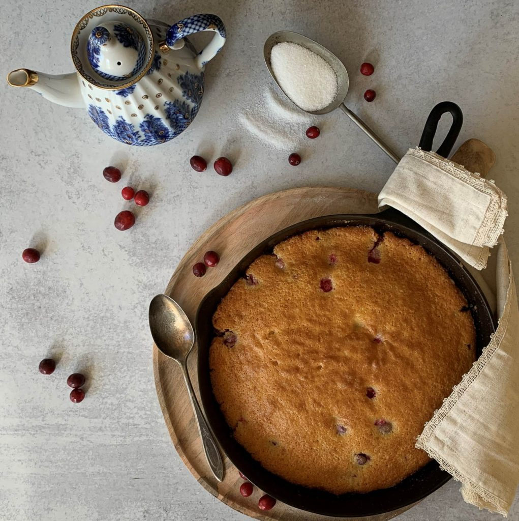 cake in a skillet cooling