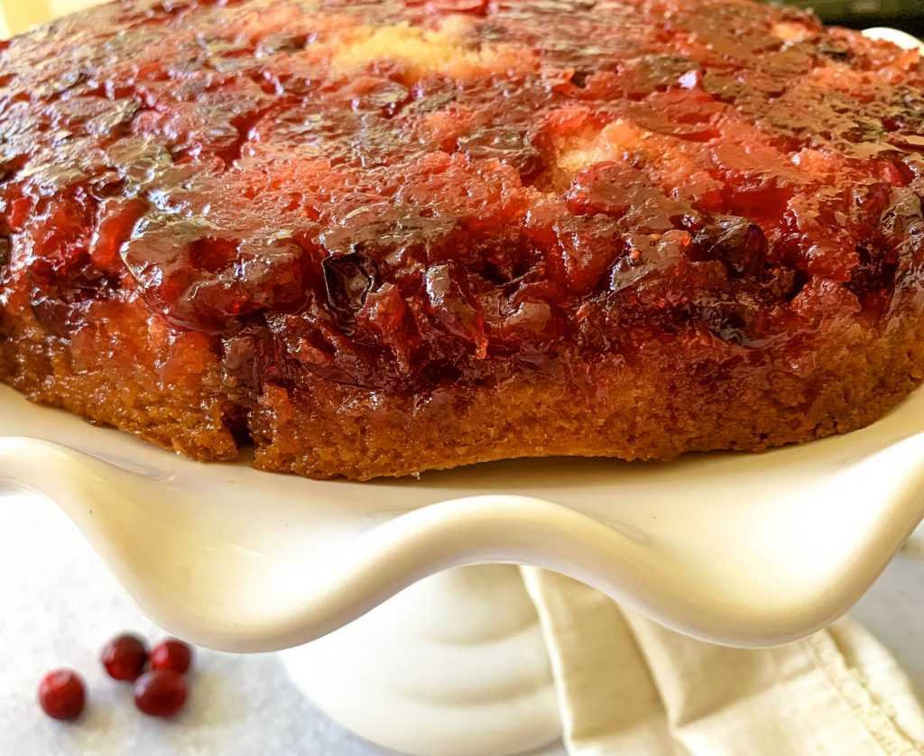detail of the cranberry and brown sugar topping on cast iron cranberry and brown sugar cake