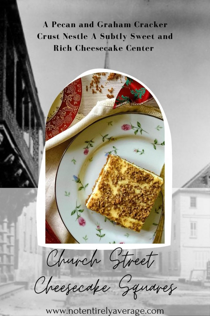 Pinterest Pin image for Church Street Cheesecake squares