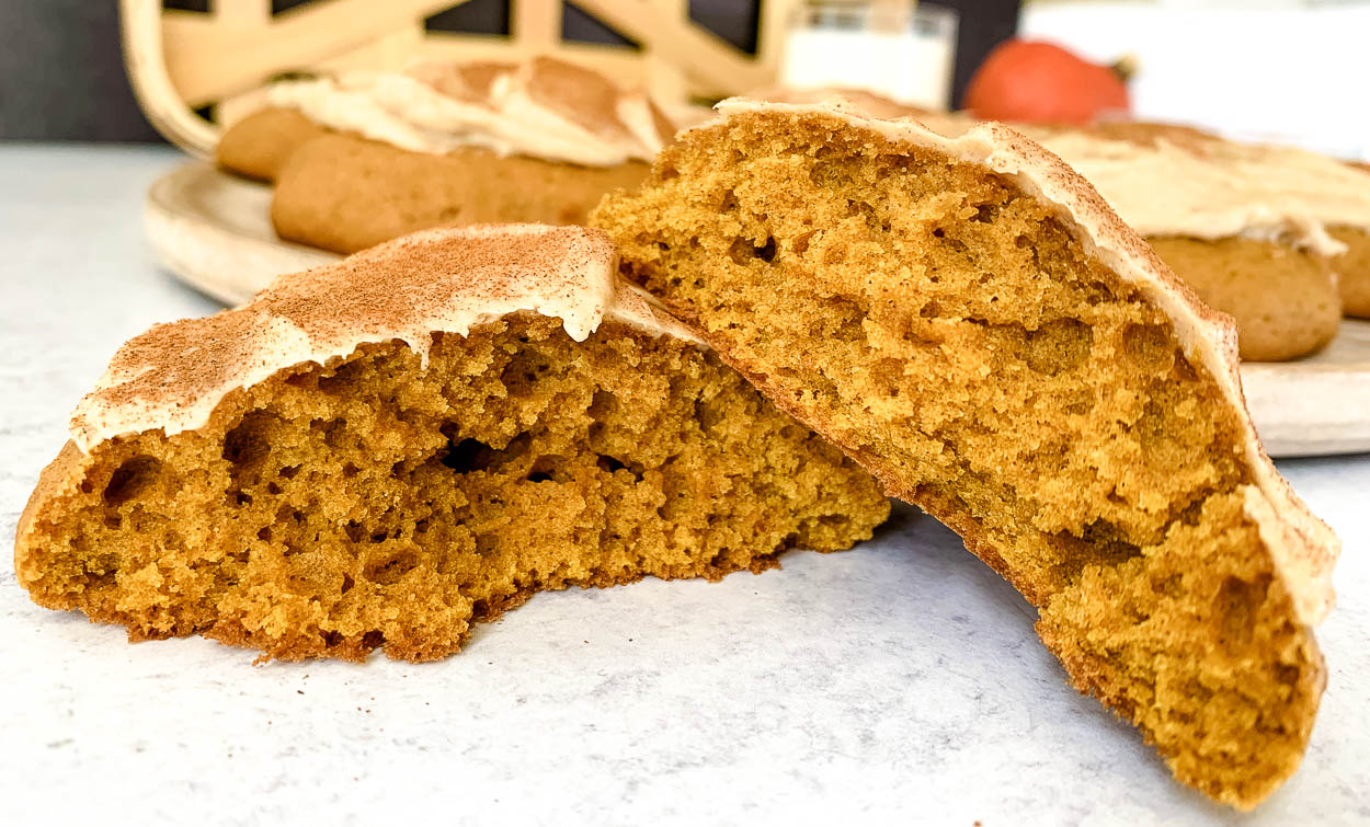 close up of the inside of Colossal Pumpkin Spice Latte Cookie broken in half