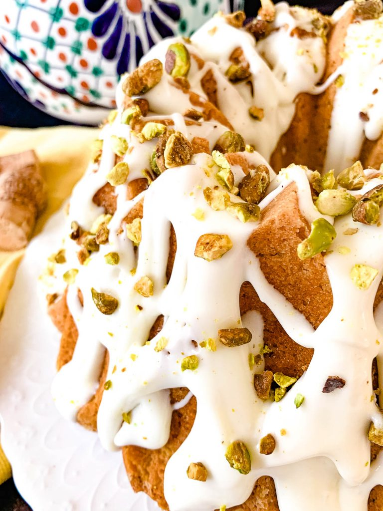 gorgeous photo of Pistachio-Cardamom Bundt with Rosewater Glaze