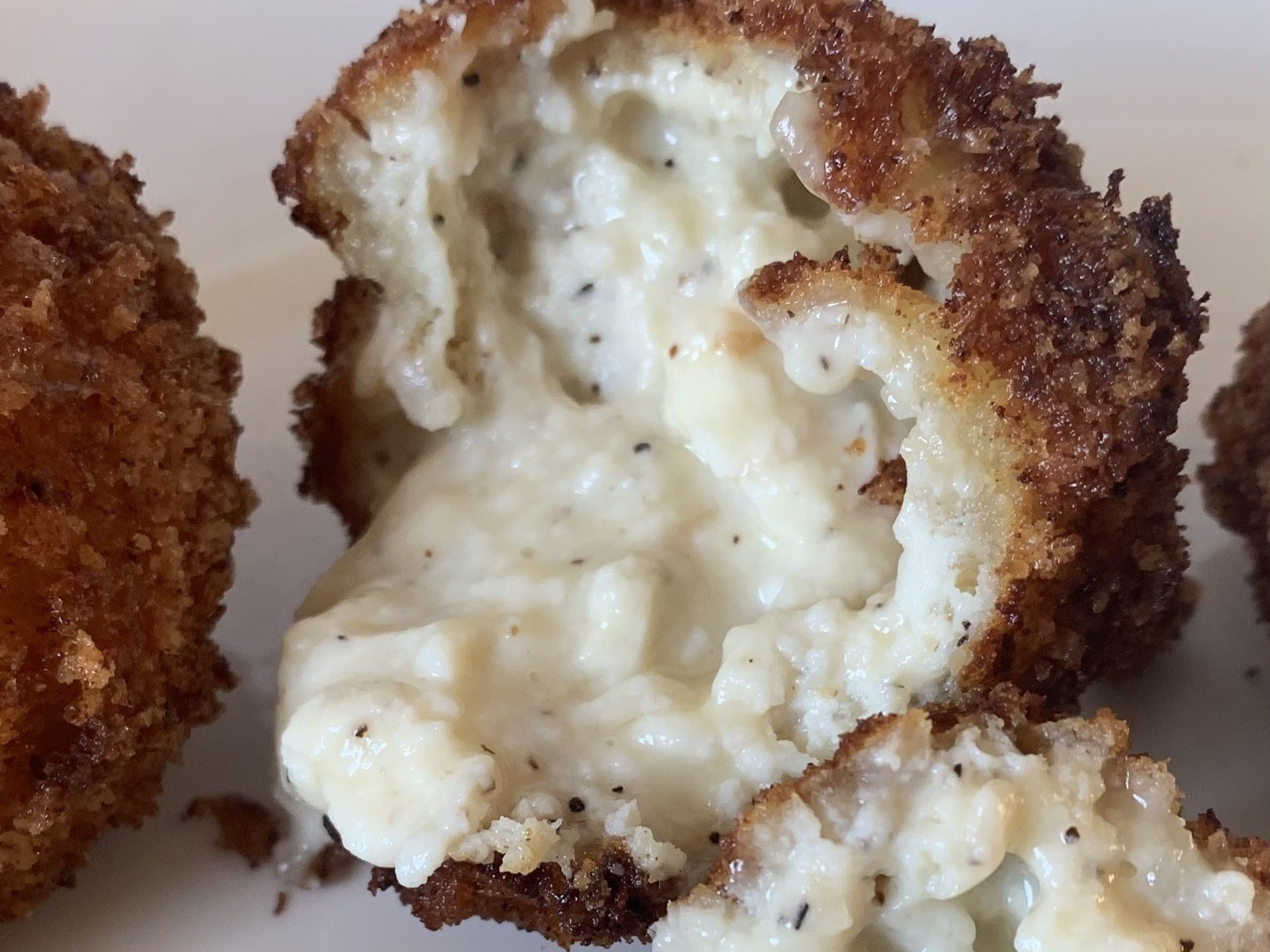 Pinterest pin image for Smoked Gouda & Ricotta Fritters