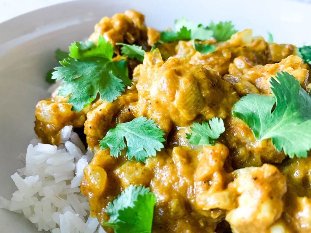 bowl of curry over rice